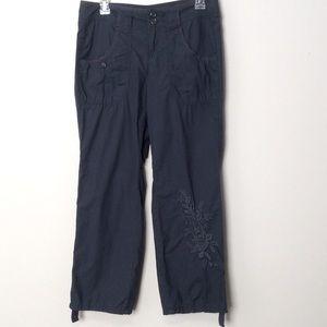 DKNY Jeans Grey Embroidery Leg Pants, Size 6